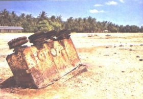 Remains of landing craft from World War II