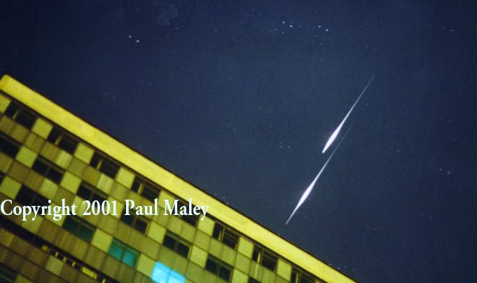 Two Iridium satellites fly over a Moscow apartment building!
