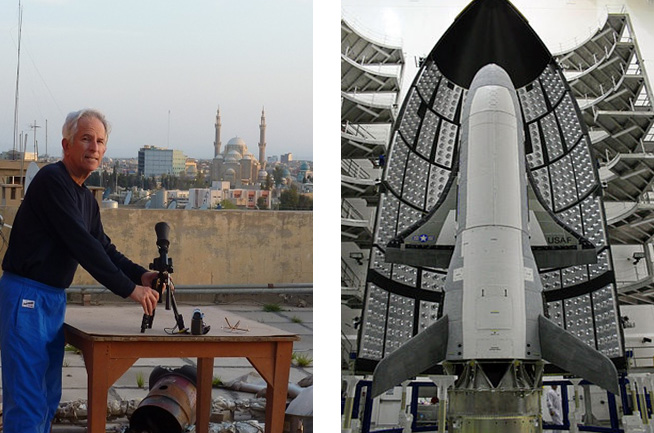 My setup for video observation of a military shuttle spacecraft X-37B OTV-2 (pictured on the right) from the roof of a hotel in Erbil, Iraq April 2, 2011. Photo by L. Palmer during my 51st year of satellite observing.